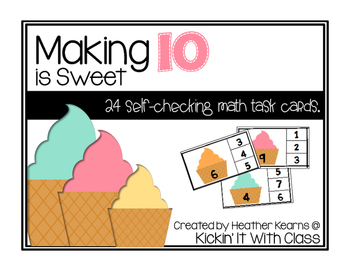 Making 10 is Sweet {Self-Checking} Task Cards