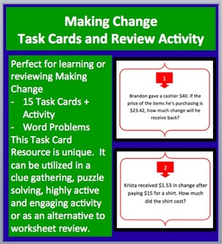 Making Change - Task Cards and UNIQUE Activity