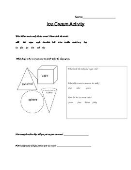 Making Ice Cream Activity Sheet