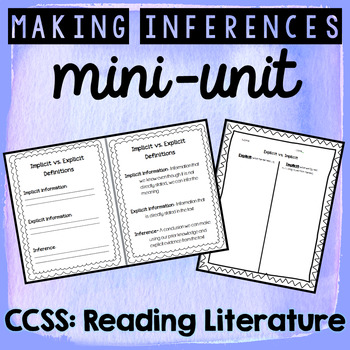 Making Inferences Mini Unit - Explicit vs. Implicit Activities
