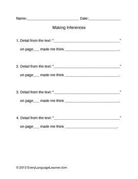 Making Inferences Sentence Starters