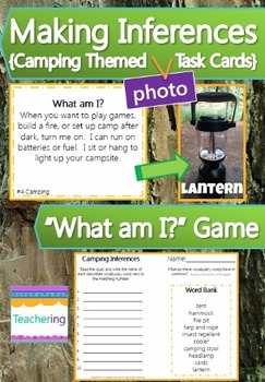 Making Inferences Task Cards {Camping Theme} Picture Match