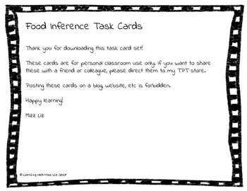 Making Inferences Task Cards: Food