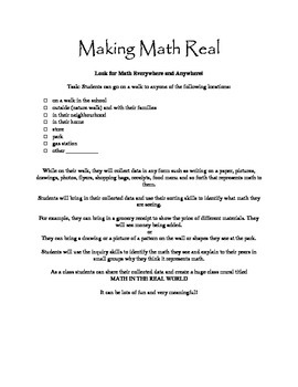 Making Math Real Assignment