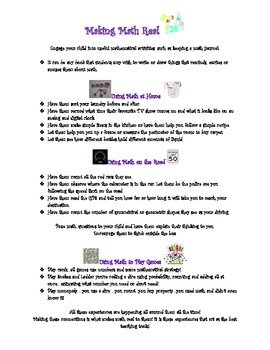 Making Math Real Tip Sheet for Parents
