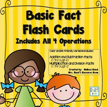 Basic Fact Flash Cards All Four Operations-B/W and Color
