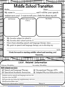 Making Middle School Transition Easy {IEP Summary Sheet}