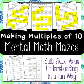 Making Multiples of 10 Center - Mental Math Activity Maze