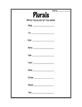 Making Nouns Plural Worksheet