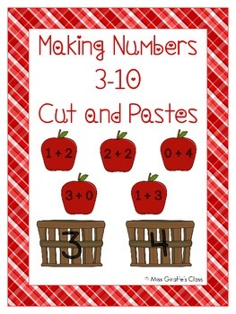 Making Numbers Fall Apple Sort Cut and Paste Worksheets