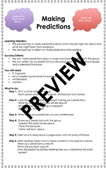 Comprehension: Making Predictions Small Group Activity Task Card