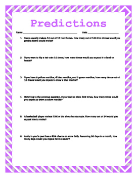 Making Predictions w/ Answer Key