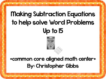 Making Subtraction Equations to 15 Common Core Aligned Mat