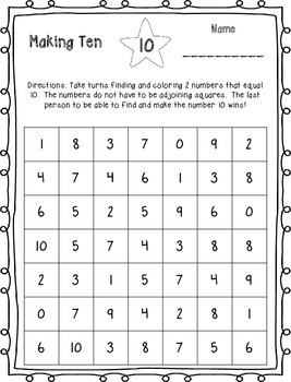Making Ten - Color the Numbers {FREEBIE}