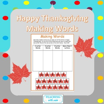 Making Words: Happy Thanksgiving