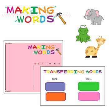 -ail Word Family Sorting Lesson - Animals - Making Words f