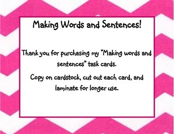 Making Words and Sentences