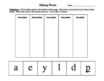 """Making Words - """"played"""" - short a, short e, ea, ay"""