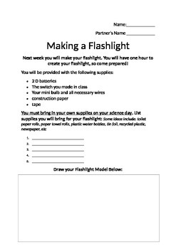 Making a Flashlight At Home Planning Handout- EDITABLE