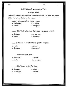 Making a Splash Vocabulary Test