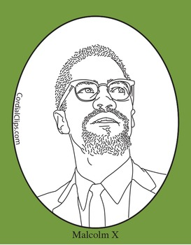 Malcolm X Clip Art, Coloring Page or Mini-Poster