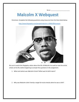 Malcolm X- Biography and Video Analysis Web Assignment with Key