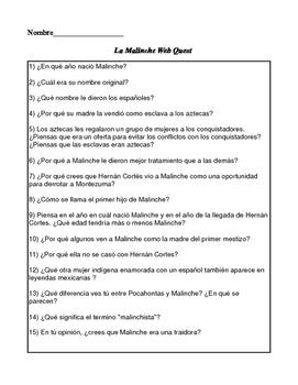 Malinche Web Quest in Spanish
