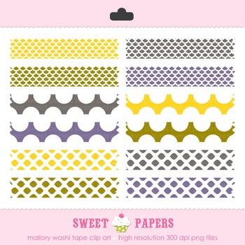 Mallory Yellow and Purple Washi Tape Digital Clip Art Set