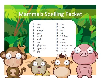 Mammal names differentiated spelling packet by SpellingPac