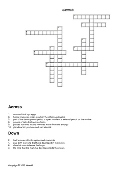 Mammals Crossword for Biology II