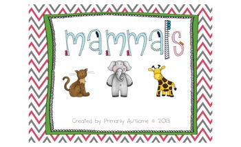 Mammals Mini-Book (For students with Autism & Communicatio