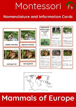Mammals Of Europe – Montessori Nomenclature And Information Cards