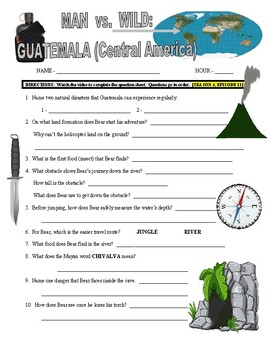 Man vs Wild Guatemala (video worksheet)
