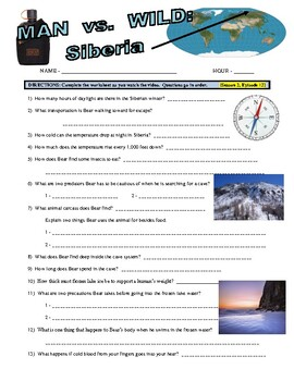 Man vs Wild Siberia (Video Worksheet)