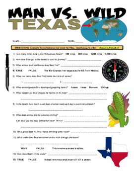 Man vs Wild Texas (video worksheet)