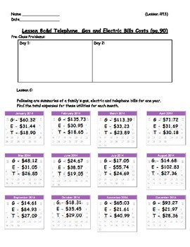 Managing a Household - Yearly Bills (Averages) Worksheet;