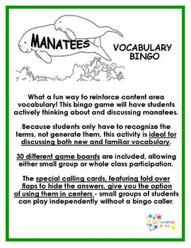 Manatees Vocabulary Bingo