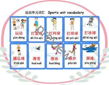 Mandarin Sports unit flashcards and flashcards reading vid