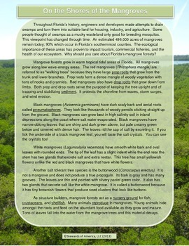 Mangroves: Informational Text, Vocabulary Challenge, & Tre