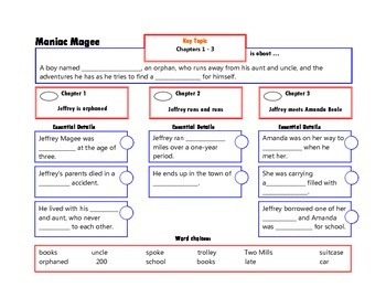 Maniac Magee Complete Novel Chapter Frames for Comprehension
