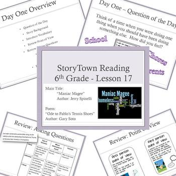 "6th Grade Storytown ""Maniac Magee"" Entire Unit - Vocab, Ce"