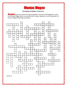 Maniac Magee: Prereading Crossword--50 Words-Use with Book