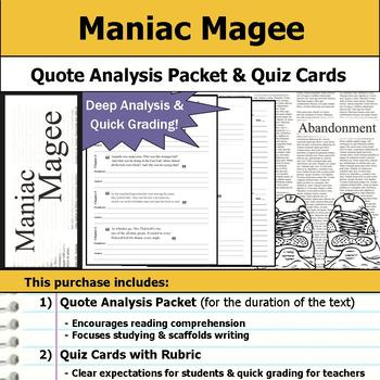 Maniac Magee - Quote Analysis & Reading Quizzes