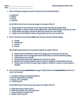 Maniac Magee ch 6-10 PARCC questions
