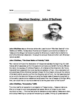 Manifest Destiny: John O'Sullivan quotes and questions (ho