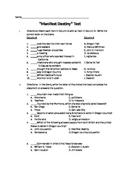 Manifest Destiny Unit Test with Essay Question