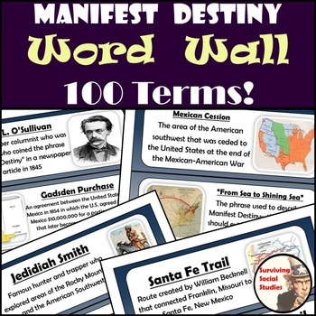 Manifest Destiny Word Wall - 100 Terms/People/Definitions/