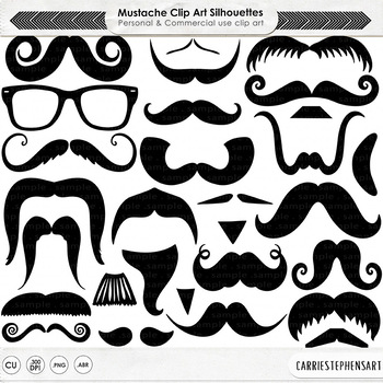 Manly Mustache, PNG Digital Stamps + PS Brush, Moustache L