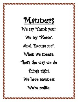 Manners begin the first day in kindergarten !
