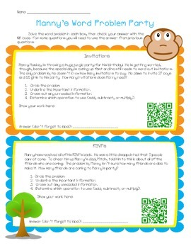 Manny's Word Problem Party! QR Code Activity